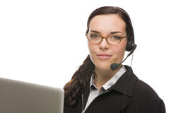 Mixed Race Receptionist In Front of Computer Wearing Phone Head- Stock Images