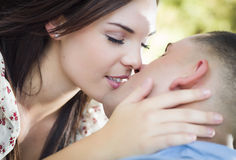 Mixed Race Romantic Couple Portrait in the Park Royalty Free Stock Images