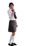 Mixed race schoolgirl smoking Stock Images