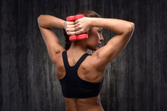 Mixed race sporty woman with dumbbells Royalty Free Stock Photo
