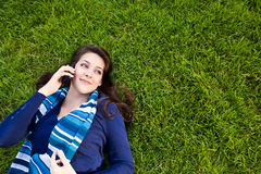 Mixed race student on the phone Stock Photo