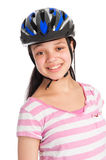 Mixed Race Teenage Girl Wearing a Bicycle Helmet. Stock Photography