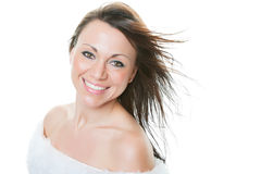 Mixed Race Thirty Year Old Woman. Portrait of a beautiful, mixed race, thirty year-old woman, with a big gorgeous smile. Shot on white background stock photography