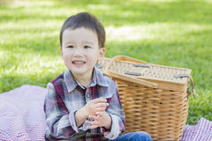 Mixed Race Toddler Sitting in Park Near Picnic Basket Royalty Free Stock Images