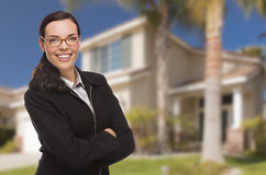 Mixed Race Woman in Front of Residential House Royalty Free Stock Photo