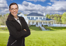Mixed Race Woman in Front of Residential House Royalty Free Stock Images