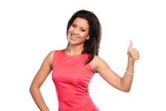 Mixed race woman giving thumb up gesture. Royalty Free Stock Photography