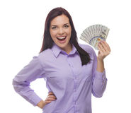 Mixed Race Woman Holding the New One Hundred Dollar Bills Stock Images