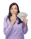 Mixed Race Woman Holding the New One Hundred Dollar Bills Royalty Free Stock Images