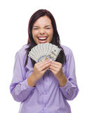 Mixed Race Woman Holding the New One Hundred Dollar Bills Stock Image