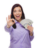 Mixed Race Woman Holding the New One Hundred Dollar Bills Royalty Free Stock Photography