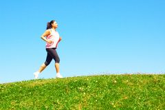 Mixed Race Woman Jogging Royalty Free Stock Photo
