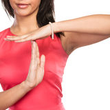 Mixed race woman showing time out gesture sign. Stock Photo