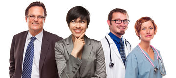 Mixed Race Women and Businessman with Doctors or Nurses Stock Photo