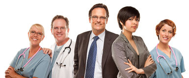 Mixed Race Women and Businessman with Doctors or Nurses Stock Photos