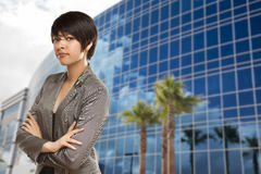 Mixed Race Young Adult in Front of Building Stock Images
