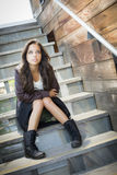 Mixed Race Young Adult Woman Portrait on Staircase Stock Photos
