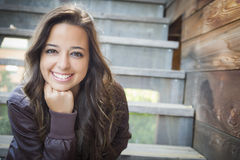 Mixed Race Young Adult Woman Portrait on Staircase Royalty Free Stock Photo