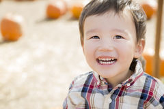 Mixed Race Young Boy Having Fun at the Pumpkin Patch Stock Photography