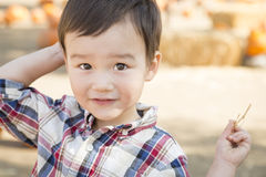Mixed Race Young Boy Having Fun at the Pumpkin Patch Royalty Free Stock Photos