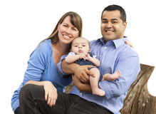 Mixed Race Young Family on White Stock Images