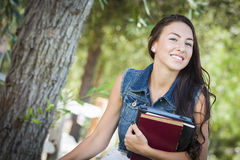 Mixed Race Young Girl Student with School Books Stock Photos