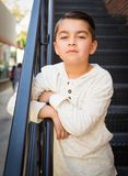 Mixed Race Young Hispanic Caucasian Boy. Posing in a Stairway stock images