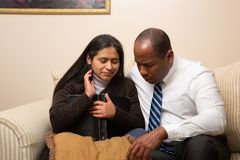 Mixed Raced Christian Couple Praying Together royalty free stock photos