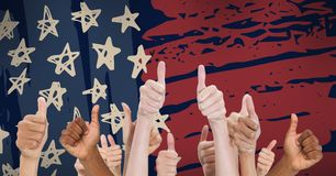 Mixed-raced people having thumbs up against drawn american flag Stock Photo