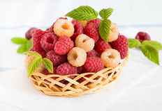 Mixed raspberries in basket over light background. Selective focus Royalty Free Stock Photo