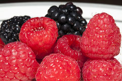 Raspberries and blackberries close-up Royalty Free Stock Image