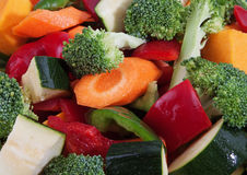 Mixed Raw Cut Vegetables. A mix of raw vegetales cut into pieces Royalty Free Stock Photo
