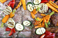 Mixed raw meat and grilled vegetables marinating ready for barbe Stock Photos