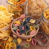Mixed raw pasta Stock Photo
