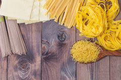 Mixed raw pasta selection Stock Images