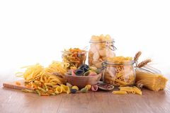 Mixed raw pasta Stock Image