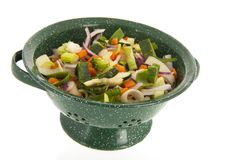 Mixed vegetables in colander Royalty Free Stock Images