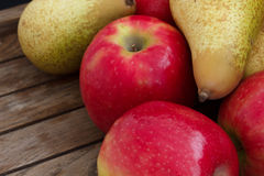 Mixed red apples and pears Royalty Free Stock Image