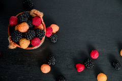 Mixed of red, black, yellow raspberries in a basket on  wooden background. Close up. Top view. Copy spase. Mixed of red, black, yellow raspberries in a basket Royalty Free Stock Images