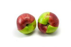 Mixed red and green apples. On the white background Stock Photo