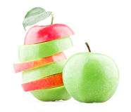Mixed red and green apples with leaf Stock Image