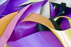 Mixed ribbons. A close-uo of mixed coloured stain ribbons ribbons Royalty Free Stock Photos