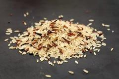 Mixed rice on black slate Royalty Free Stock Image