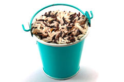 Mixed rice bucket. On white background Royalty Free Stock Images
