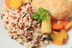 Mixed rice with chicken meat  and vegetables Stock Photos