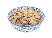 Mixed rice grains in a blue and white china bowl Royalty Free Stock Photo