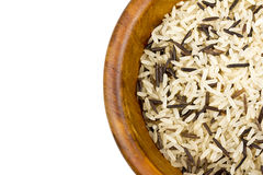 Mixed rice in wooden bowl Royalty Free Stock Photography