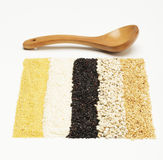 Mixed rices and wooden tablespoon Stock Image