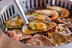 Mixed Roasted Meat and Seafood on the BBQ Grill on roast. Royalty Free Stock Image