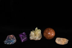 Mixed Rock Shop Samples On Black Royalty Free Stock Photography